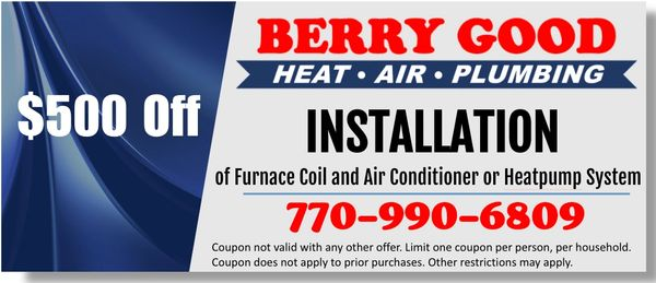 $500 off Furnace Coil and Air Conditioner or Heatpump System installation