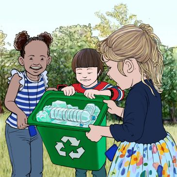 Three children collecting bottles to recycle. Click here to view the services we have available.