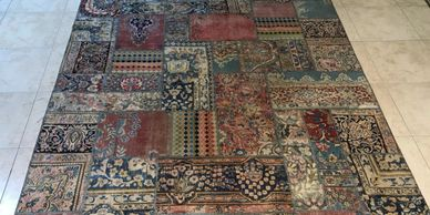 Vintage Persian carpet patchwork design