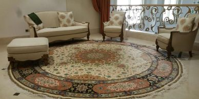 Round luxury Tabriz hand knotted Persian carpet from Sheba Iranian Carpets