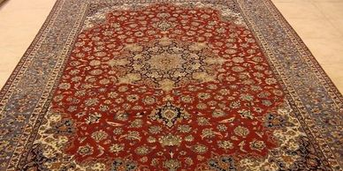 Isfahan carpet from Sheba Iranian Carpts showroom.
