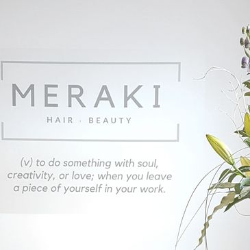 meraki hair and beauty branding and graphic design