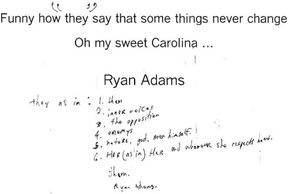 Ryan Adams They Autograph  Funny how they say that some things never change Oh my sweet Carolina