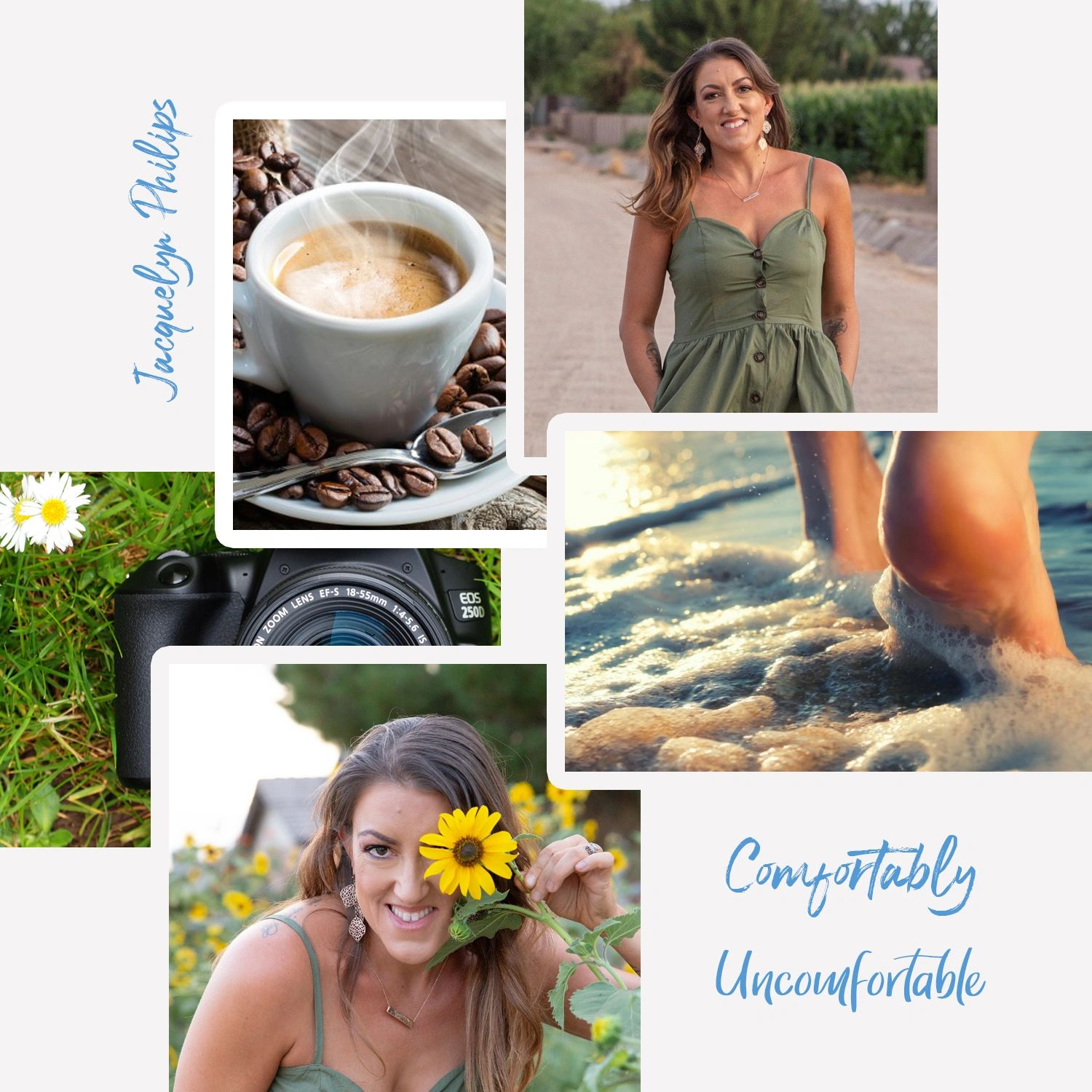 Author landing page, coffee, beach, sunflowers, camera, photography, identity