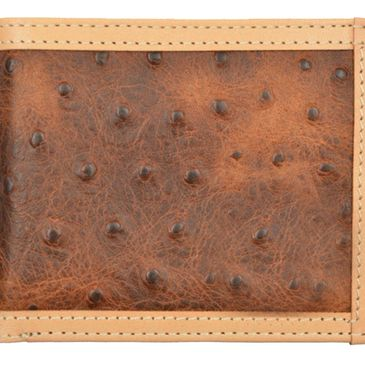 Custom tony llama ostrich print leather bi-fold wallets