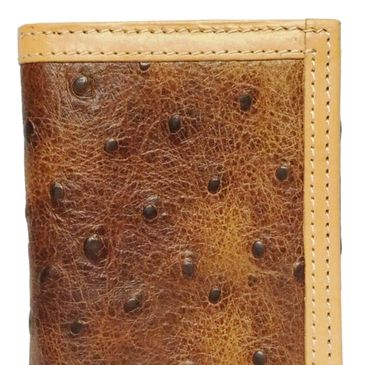 Custom tony llama ostrich print leather tri-fold wallets