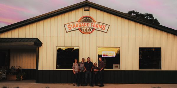 Our Family in front of the Feed store