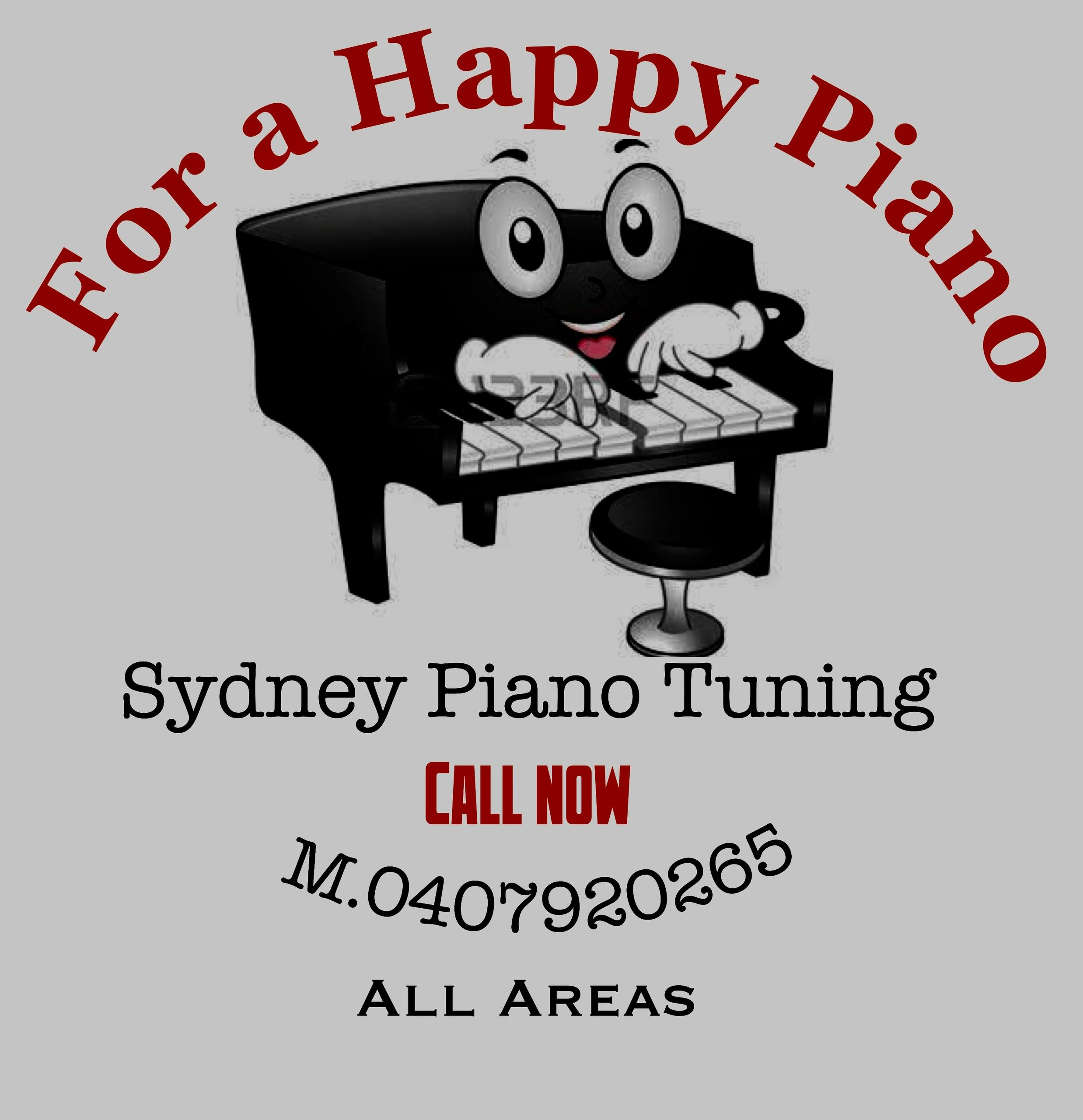 Its a picture of a piano playing its keyboard with its own hand it has big eyes with a happy smile