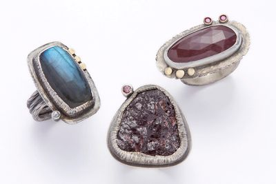 Girl Meets Joy Jewelry : three rings with labradorite, rough garnet and faceted red sapphire stones.