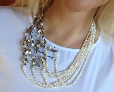 Girl Meets Joy Jewelry sterling silver branch necklace with freshwater pearls.