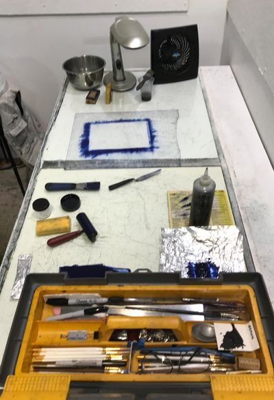 Materials and tools for plate preparation  at print studio.