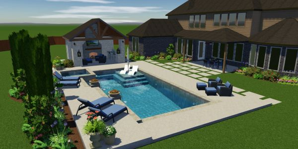 Computer rendering of customer's dream pool wtih outdoor kitchen, fireplace, pool house and patio