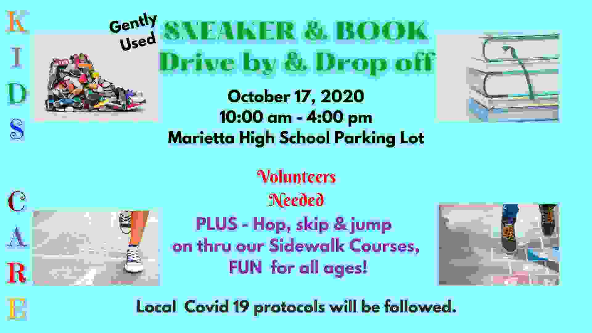 KIDS CARE Sneaker & Book Drive by & Drop off event details.