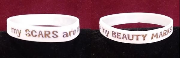 "Rubber Stretch Bracelet - my SCARS are my BEAUTY MARKS. - one size fits most - 2 1/2"" diameter x 1/2"