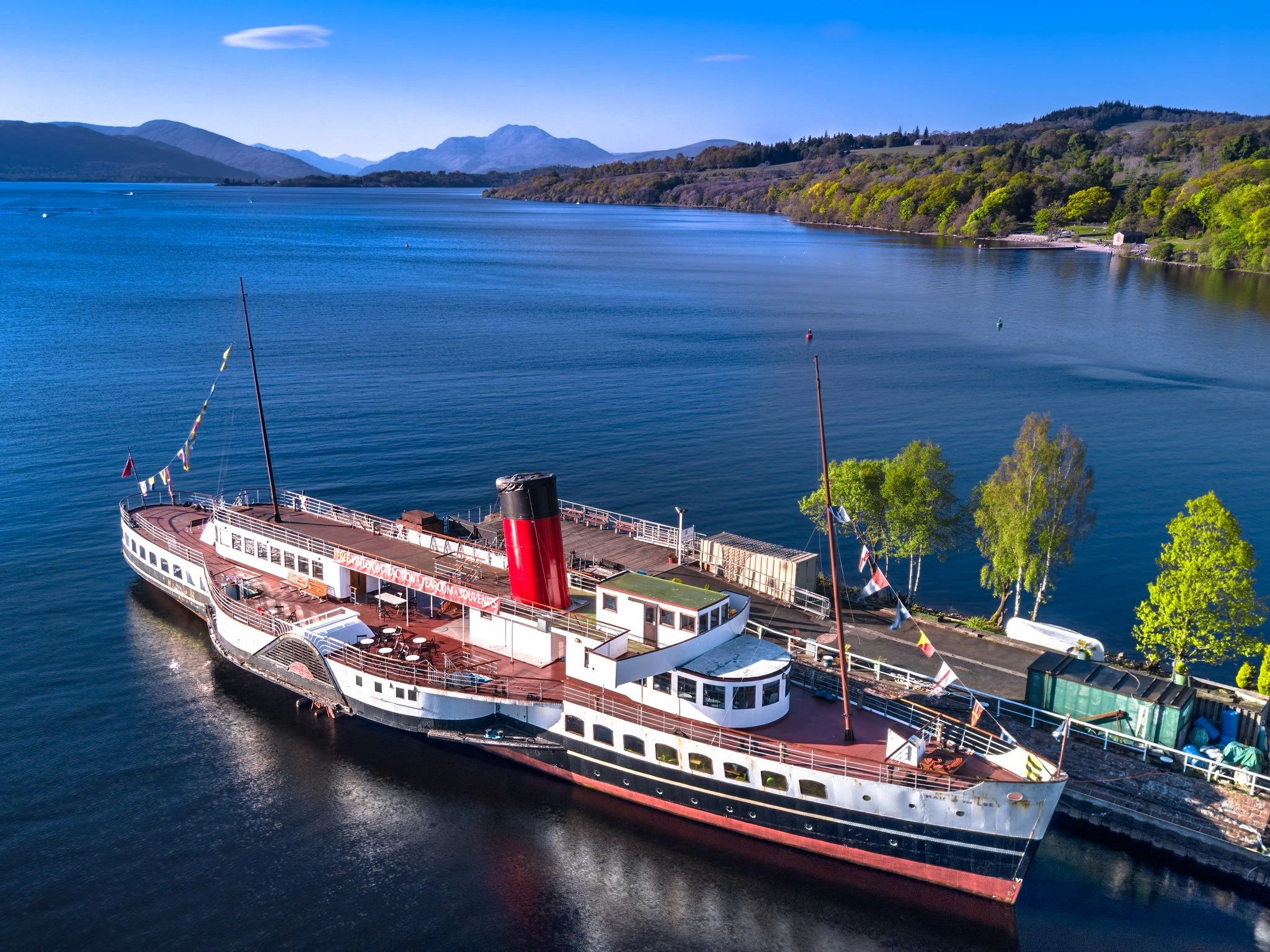 Maid of the Loch at berth on Loch Lomond, near Balloch. Courtesy: Loch Lomond Steamship Company