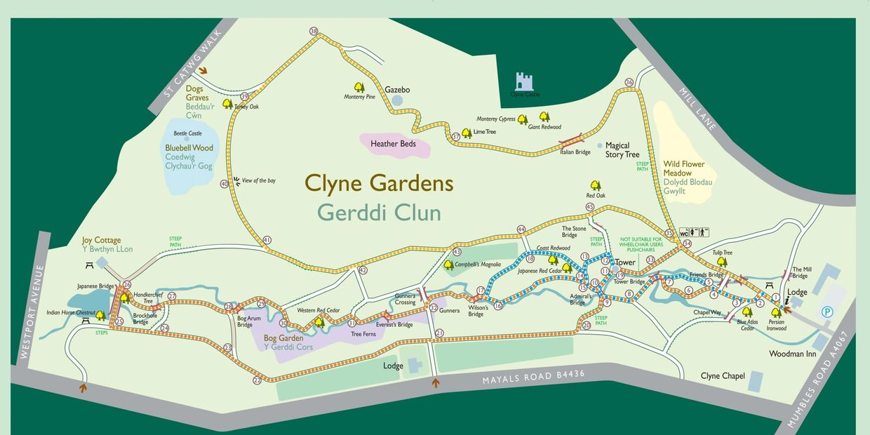 a map of the gardens at Clyne