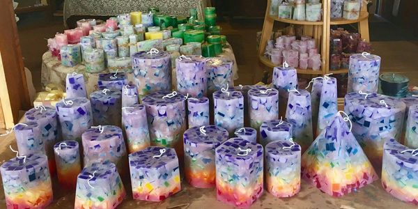 rainbow handmade candles