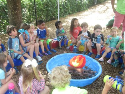 Children playing, learning, preschool, fun, discover, friends, summer camp, camp fire