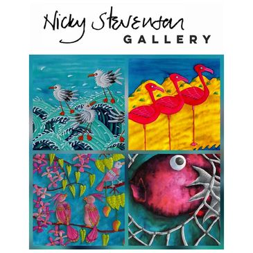 Nicky stevenson gallery original prints brixham colour sea seagulls boats
