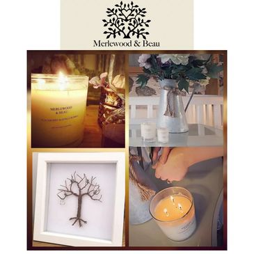 Merlewood&beau scented candles  skin scent senses wire tree family tree handmade merlewood beau