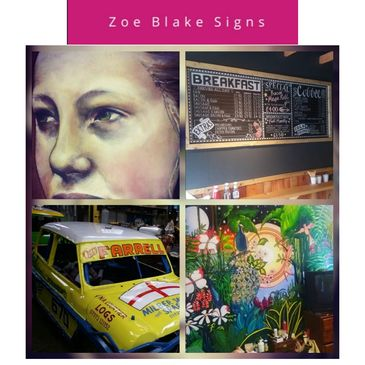 Sign writer traditional modern painting pub cafe cars magnets murals furniture portraits art artist