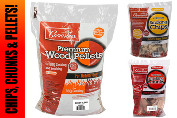 BBQ wood chips, chunks and pellets. Cameron's products. Lumber Jack wood pellets, wood for smoking.