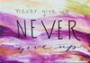 "Acrylic, ""Never Give Up,"" 5 x 7 by Susan Pettit, Museum Mount, $25."