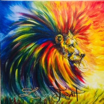 The Lion of Judah_Acrylics_12x12_Original art by Susan Pettit_special order_3 primary colors+white