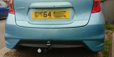 Nissan Note with Brink swan neck towbar and twin electrics, fitted in leicestershire