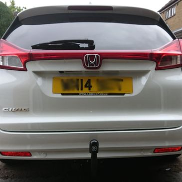 2014 Honda Civic Estate fitted with a Tow-Trust detachable towbar with 7Pin dedicated electrics.