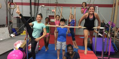 Big Kids Fitness Gymnastics Class at Gymnastics Palace. Uneven Bars. Teens. Ninja.