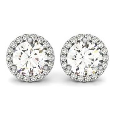 Brilliant cut diamond halo earrings