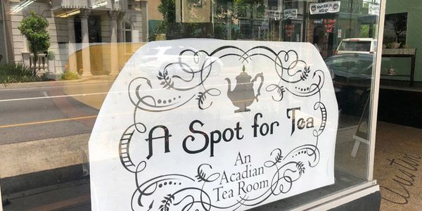 A Spot for Tea Logo in front window of restaurant at 108 East Main Street in Downtown New Iberia, La