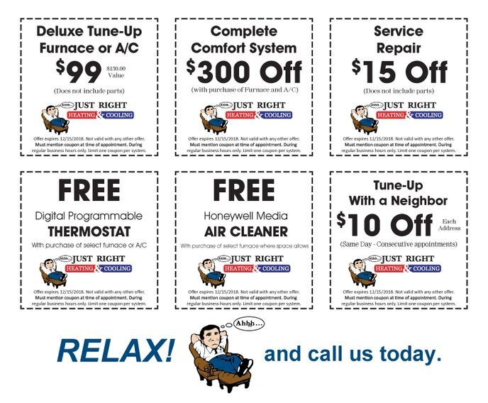 Just Right Heating Specials