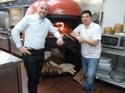 Neapolitan Pizza in Rockville. Marcel and Angel with their brick pizza oven.
