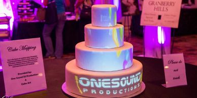 Projection mapped wedding cake