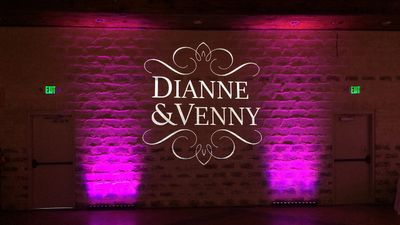 Pink uplighting and gobo monogram at The Oaks at Heavenly