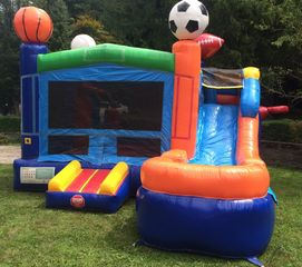 Sports Themed Bounce House and Slide Combo Keep kids outside