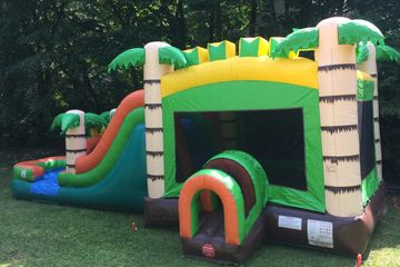Tropical Bounce House and Water Slide Combo Summer fun backyard party