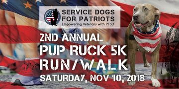 Sign up for the 2nd Annual Pup Ruck 5K Run/Walk on Saturday, November 10, 2018
