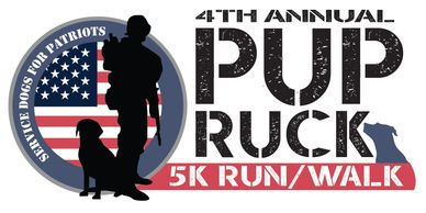 Logo of the 4th Annual Pup Ruck 5K Run/Walk showing a soldier with a dog at his back, in front of an