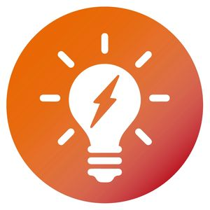 lightning flash of inspiration in the creative lightbulb of a new idea