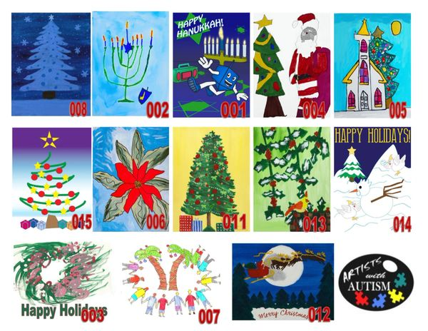 Autism Art Holiday Greeting Cards