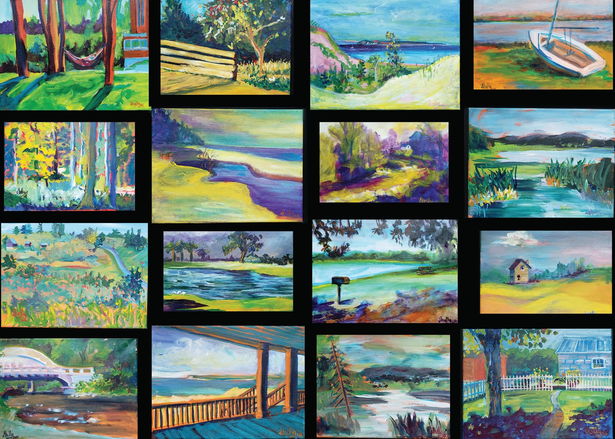 plein aire acrylic paintings.