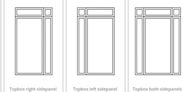Side panel and Top box, Top light frame styles to choose from on Nottingham Composite door designer