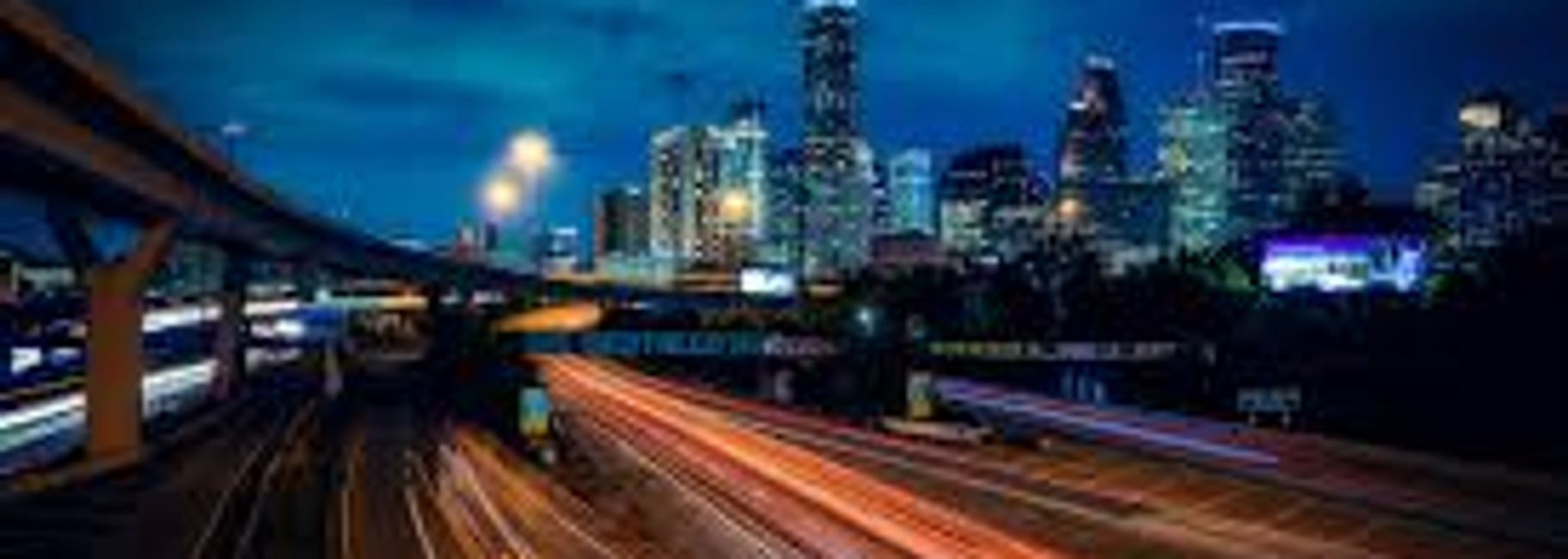City of Houston highway after dark