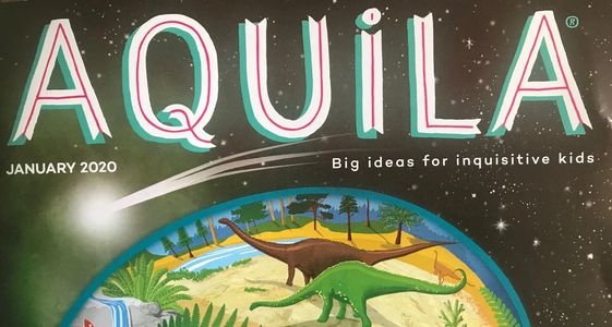 Front cover of Aquila magazine showing dinosaurs