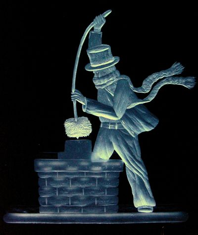 Chimney Sweep hand engraved by Catherine Miller Frabel International Glass Competition - Finalist.