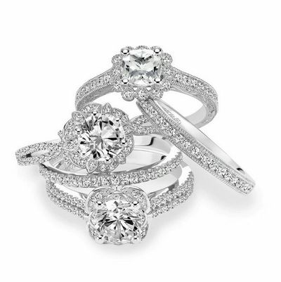 Suite of Diamond Engagement Rings with Diamond Bands