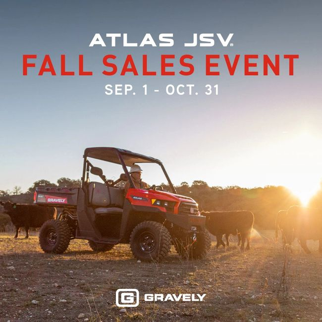 Get ready for a Fall Haul with savings up to $1,500 off a Gravely® ATLAS JSV. Bylers Engine & Repair